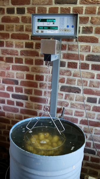 Onderwatergewicht aardappelen meten